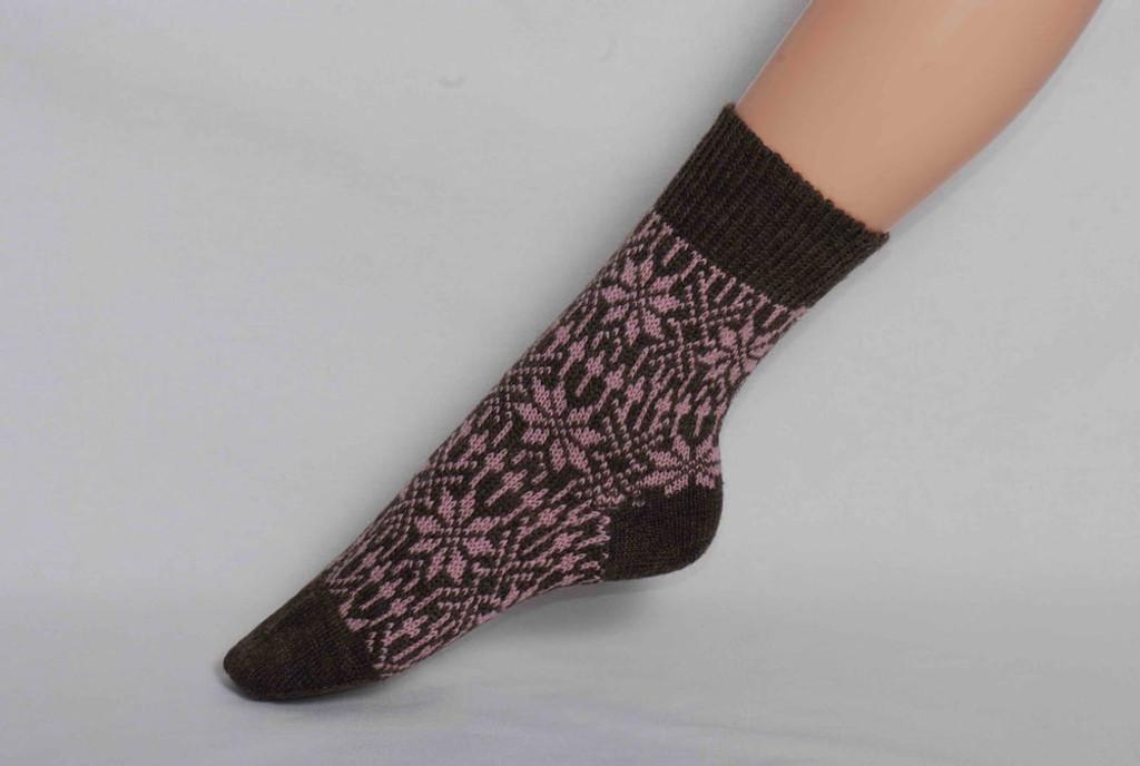 Organic Merino Wool Socks Color: 82 Brown/Rose