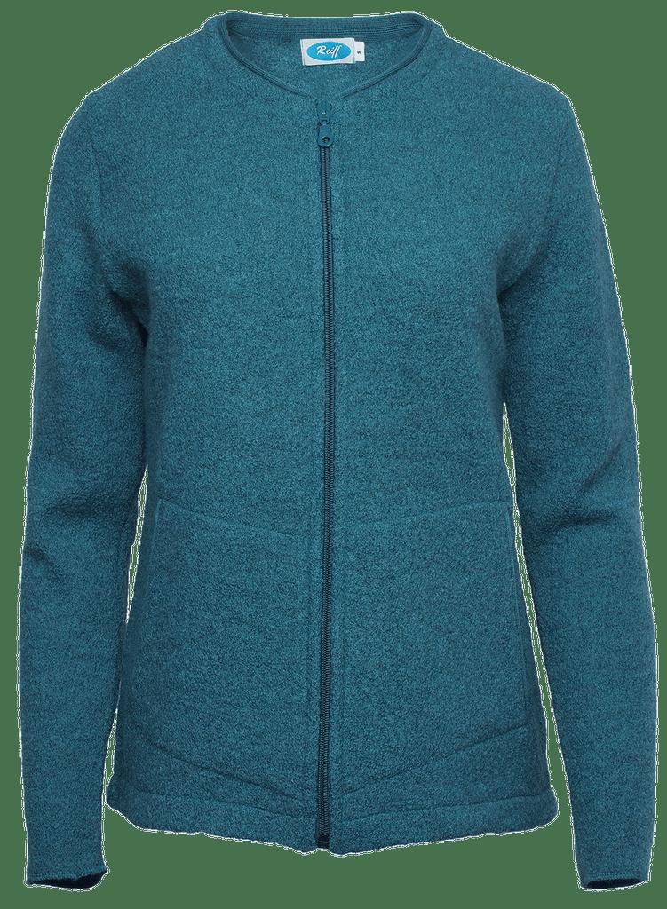 Organic Wool Fleece Jacket for Women Color: smaragd