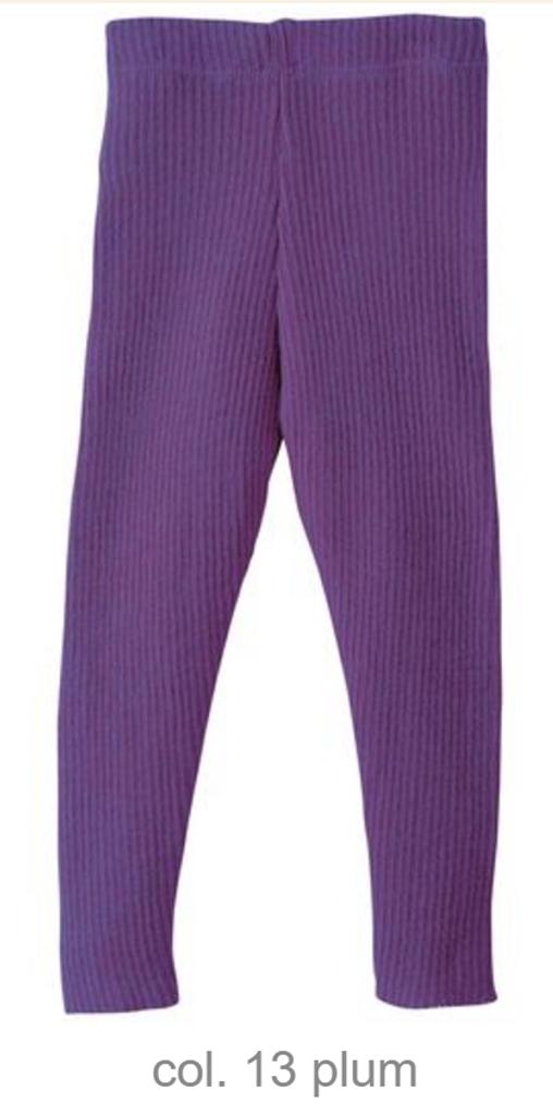 Organic Merino Wool Knitted Leggings Color: Plum