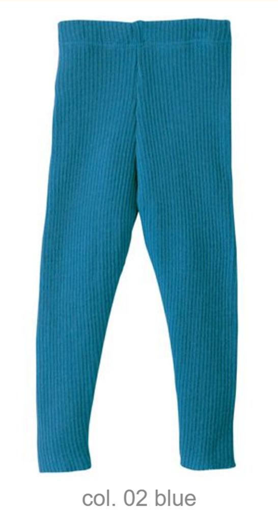 Organic Merino Wool Knitted Leggings Color: Blue
