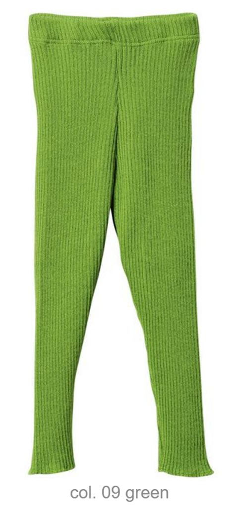 Organic Merino Wool Knitted Leggings Color: Green
