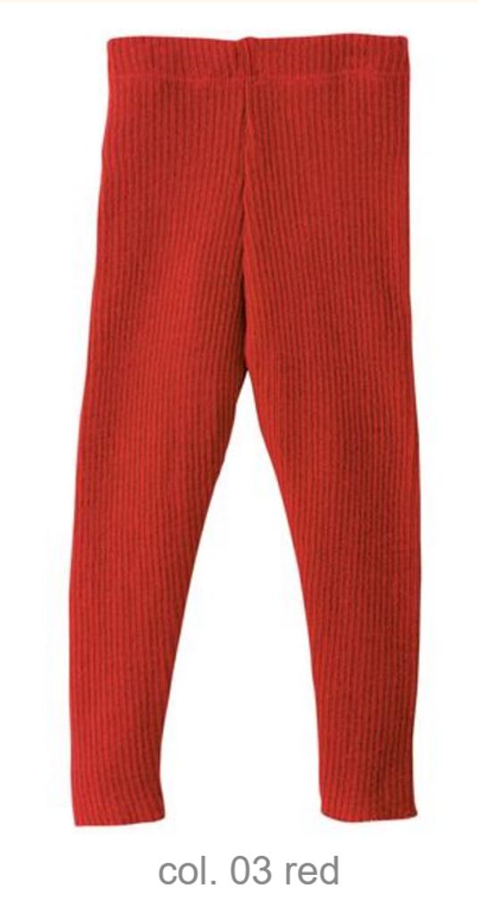 Organic Merino Wool Knitted Leggings Color: Red