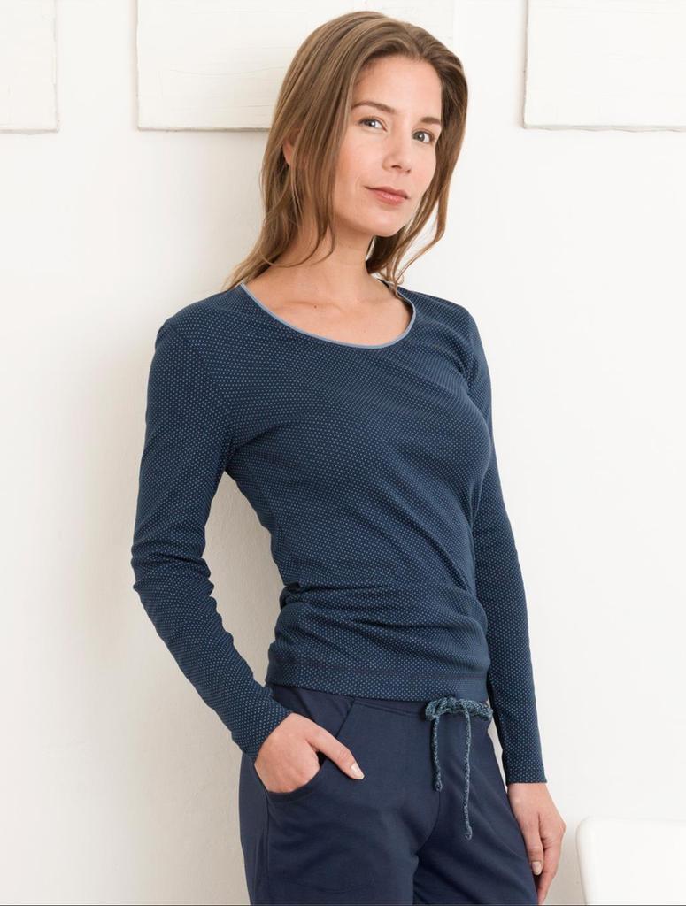 Organic cotton Sleep Shirt Color:  Night Blue Dots
