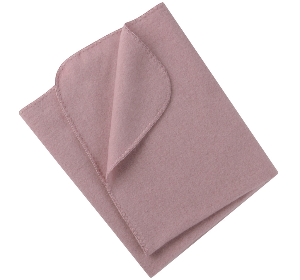 Organic Virgin Wool Fleece Blanket Color: 051E Rosewood Melange