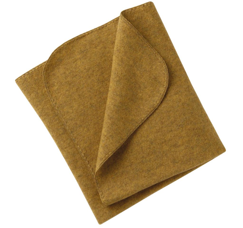 Organic Virgin Wool Fleece Blanket Color: 018E Saffron Melange