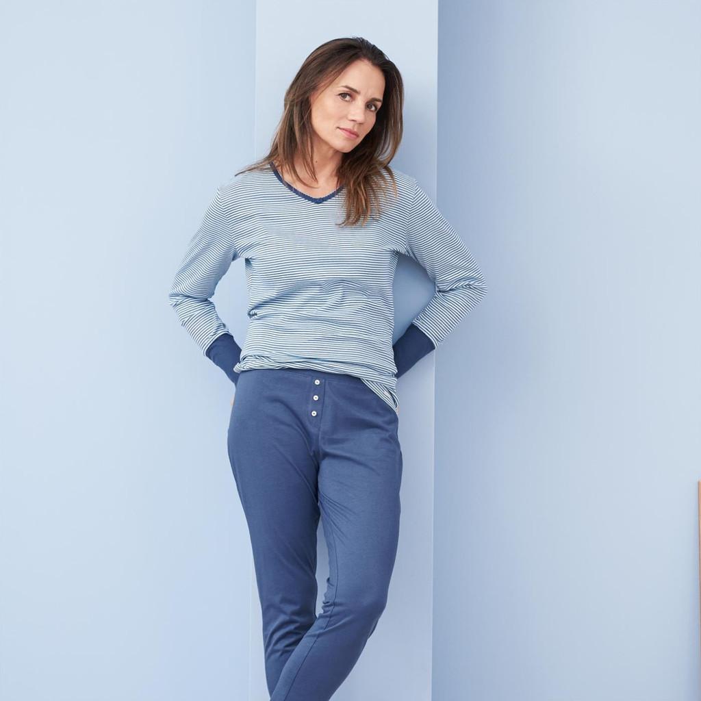 Organic Cotton Sleep Shirt Color: 754 bleu/stripes