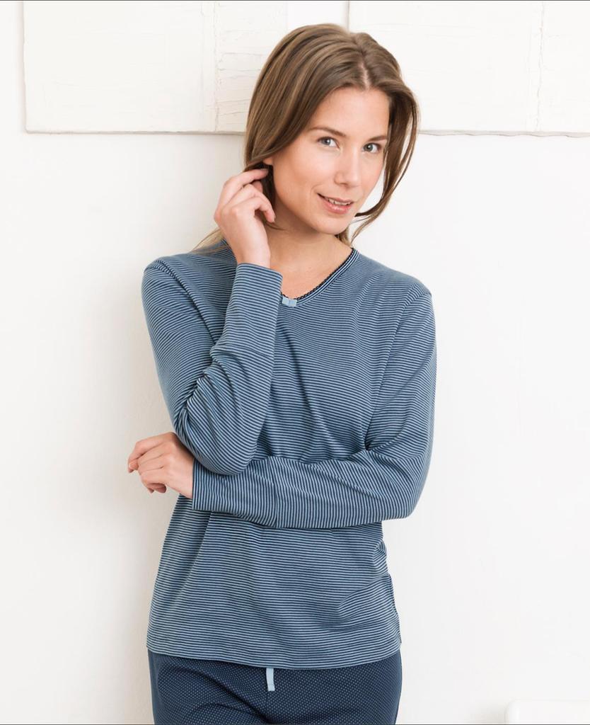 Organic Cotton Sleep Shirt Color: 684 night blue stripe