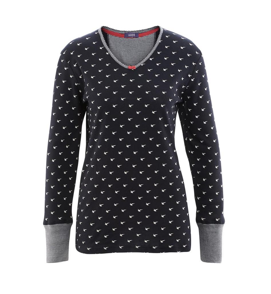 Organic Cotton Sleep Shirt Color: 580 navy birds
