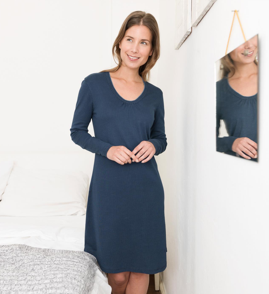 Women Night Dress Color: Night Blue Dots