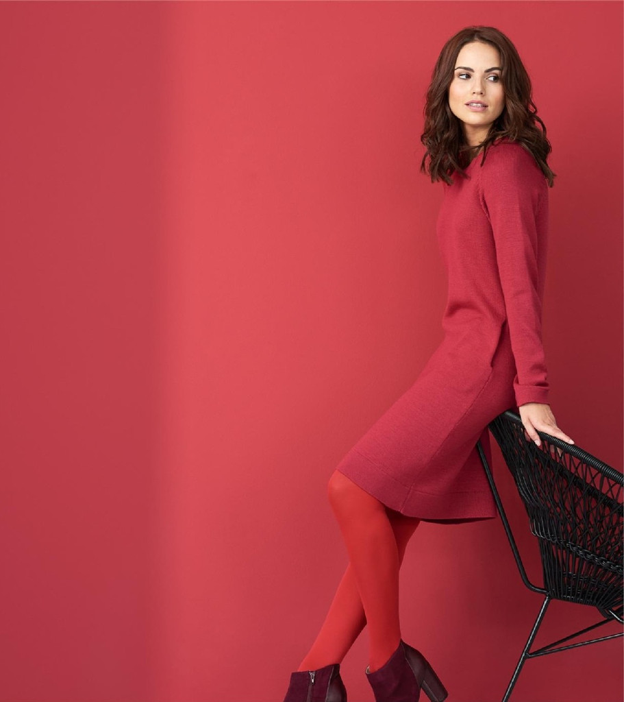 Organic Wool Dress Color: garnet red