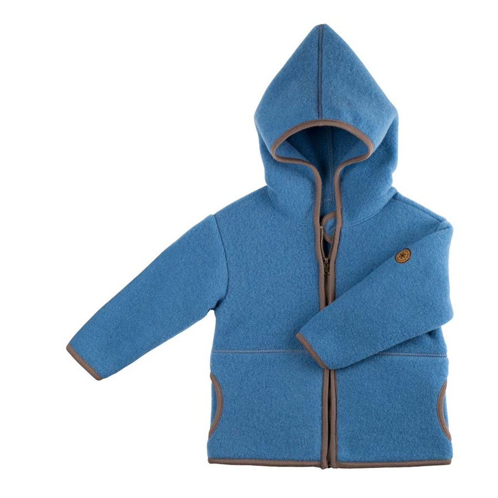 Organic Marino Wool Fleece Baby Jacket Color: 392 ash blue