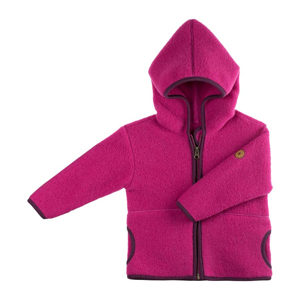 Organic Marino Wool Fleece Baby Jacket Color: 271 pink berry