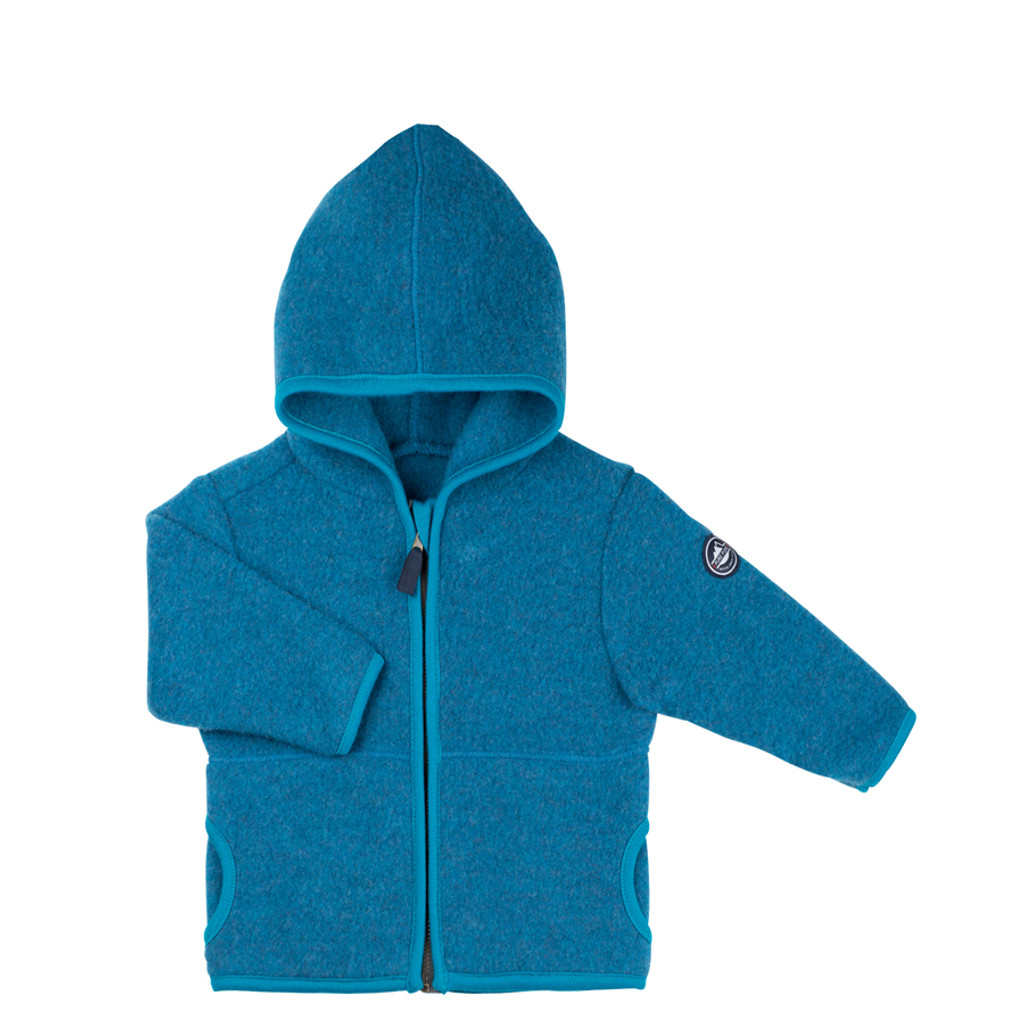 Organic Marino Wool Fleece Kids Jacket color: 33 petrol