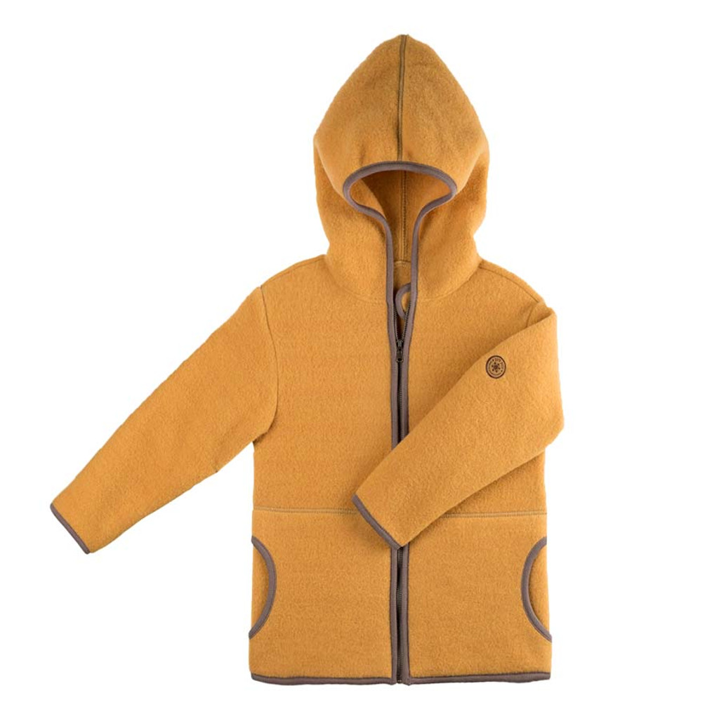 Organic Marino Wool Fleece Kids Jacket color: 081 honey