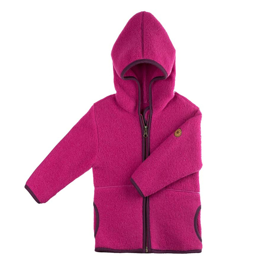 Organic Marino Wool Fleece Kids Jacket color: 271 pink berry
