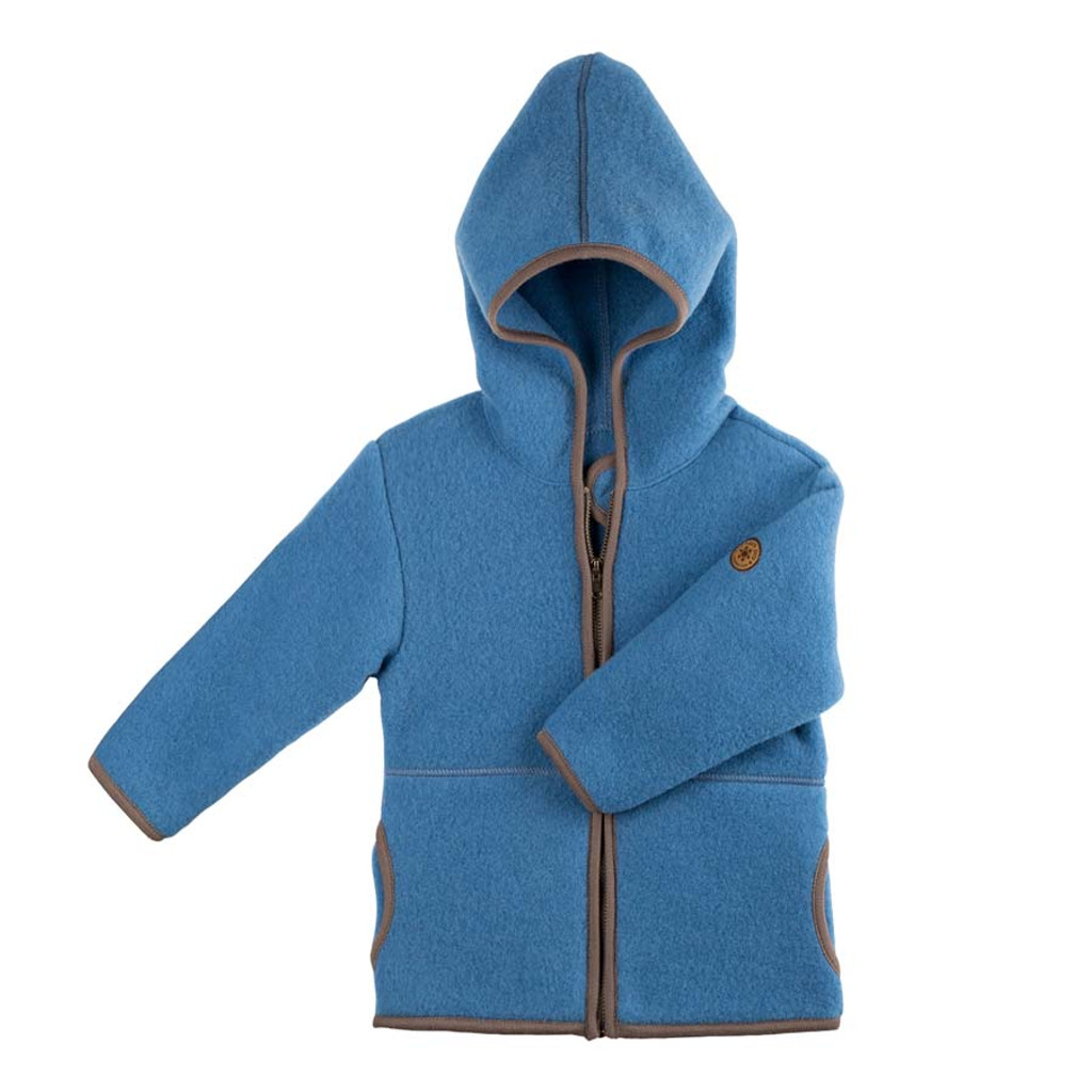 Organic Marino Wool Fleece Kids Jacket color: 392 ash blue