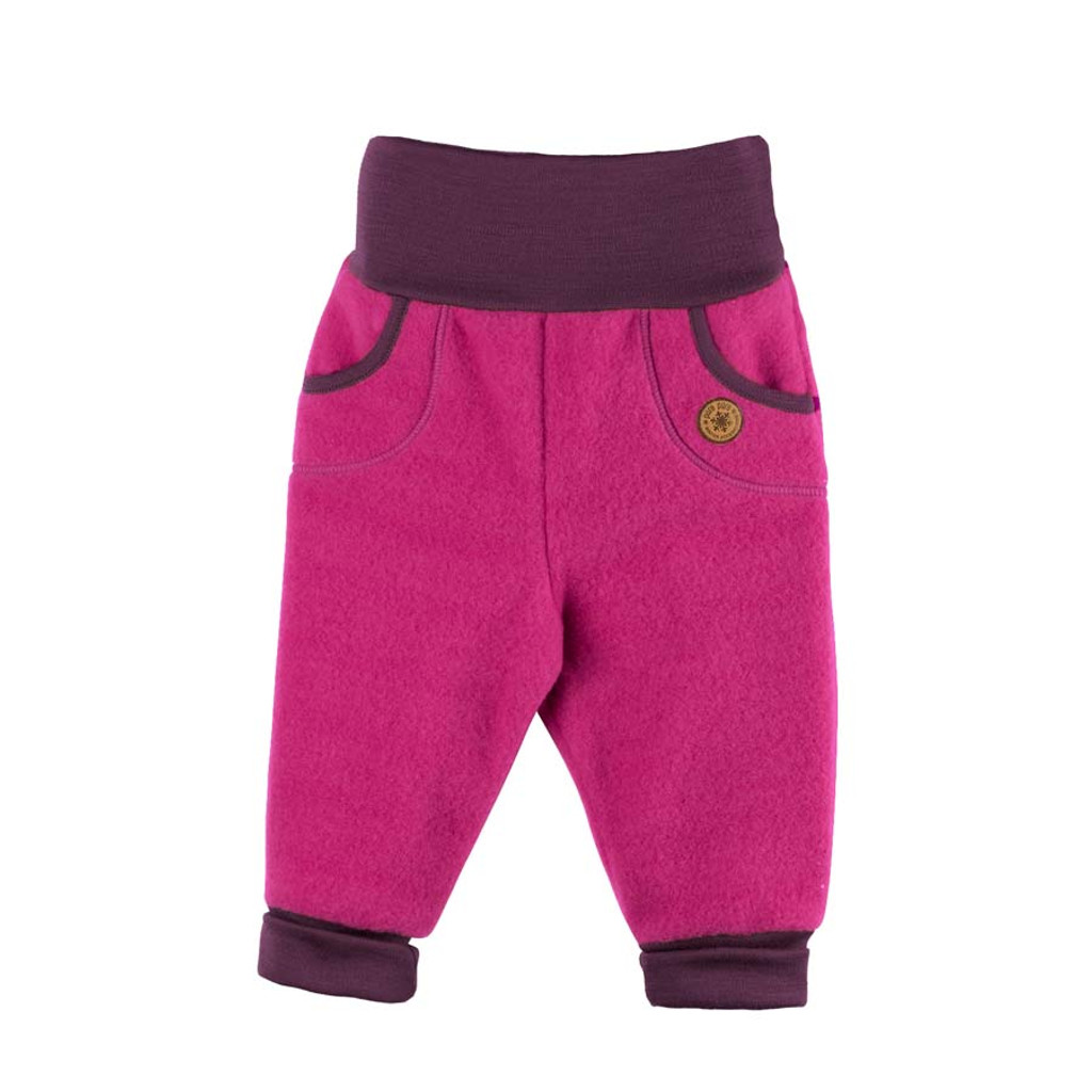 Organic Marino Wool Fleece Baby Pants Color: 271 pink berry