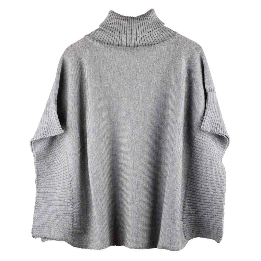 Organic Wool Women Poncho Color: 95 grau