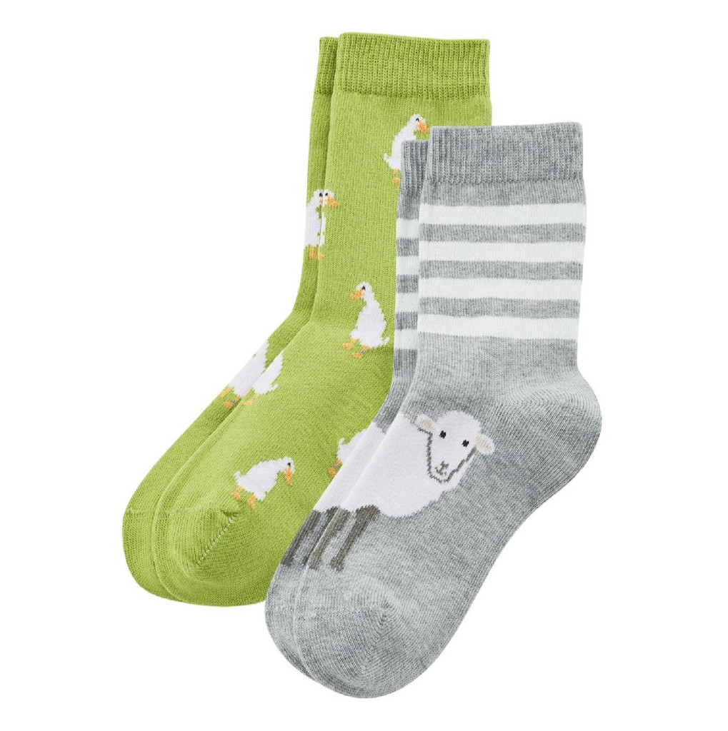 Kids Organic Cotton Sneaker Socks Color: kiwi/foggy