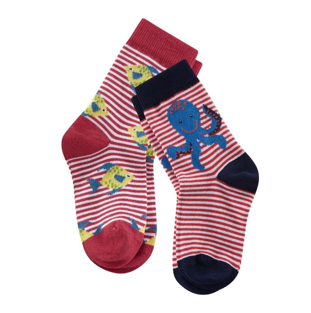 Kids Organic Cotton Sneaker Socks Color: poppy/white