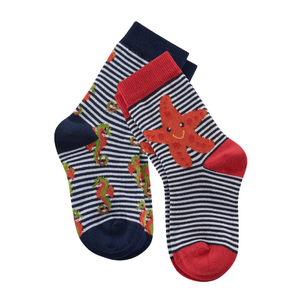 Kids Organic Cotton Sneaker Socks Color: navy/white