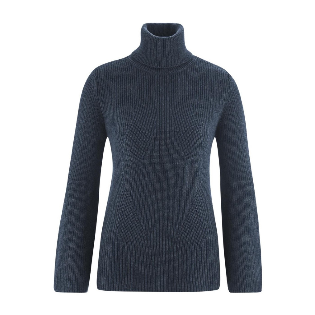 Womens Organic Wool Cotton Sweater Color: ink blue melange