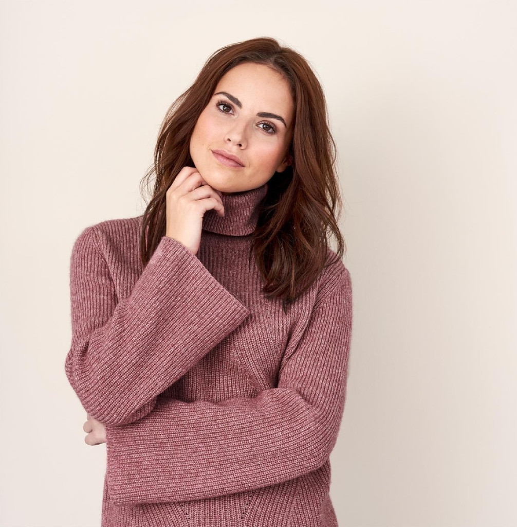 Womens Organic Wool Cotton Sweater Color: dark rose melange