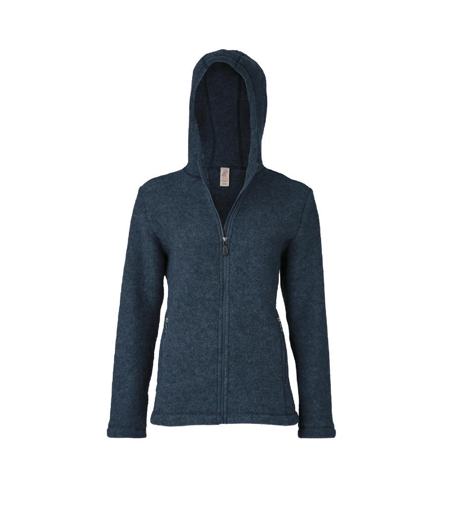 Organic Thick Wool Fleece Hooded Women's Jacket Color: 34E atlantic
