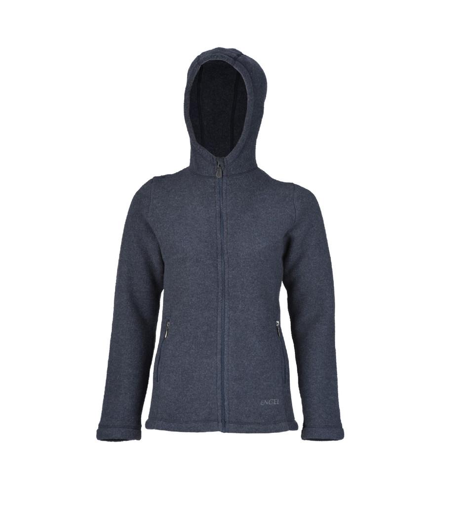 Organic Thick Wool Fleece Hooded Women's Jacket Color: 202 Denim Melange