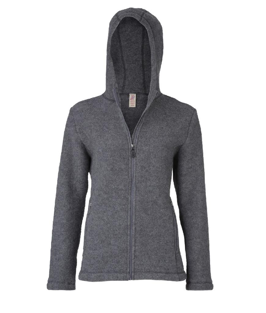 Organic Thick Wool Fleece Hooded Women's Jacket Color: 98 slate