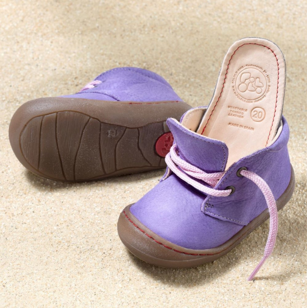 "Natural Leather Children's Shoes - ""JUAN"" Color: Lilac"