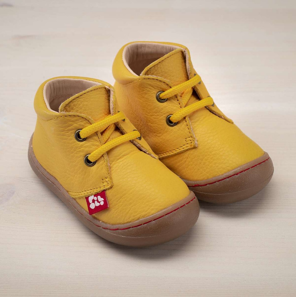 """Natural Leather Children's Shoes - """"JUAN"""" Color: Yellow"""
