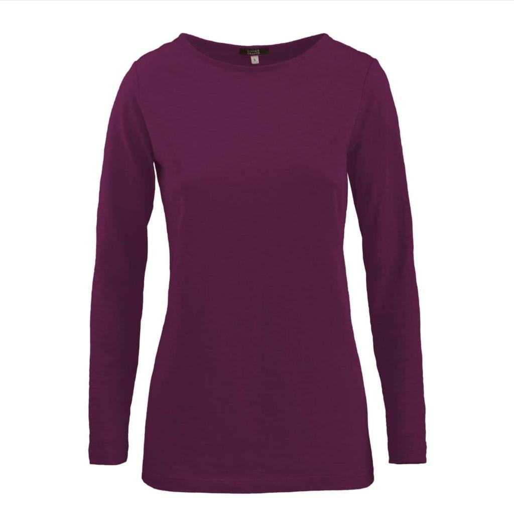 Women's Organic Cotton Long Sleeved Shirt Color: 569 barolo