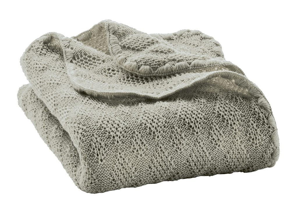 Organic Wool Knitted Blanket Color: Grey