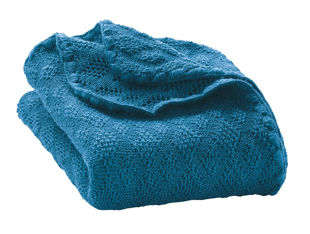 Organic Wool Knitted Blanket Color: Blue