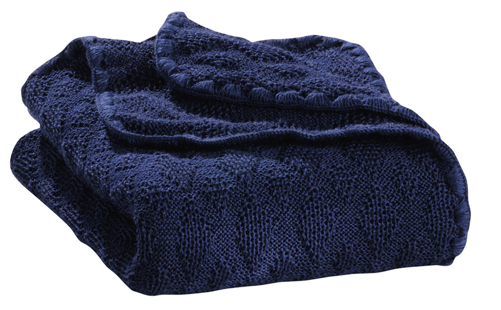 Organic Wool Knitted Blanket Color: Navy