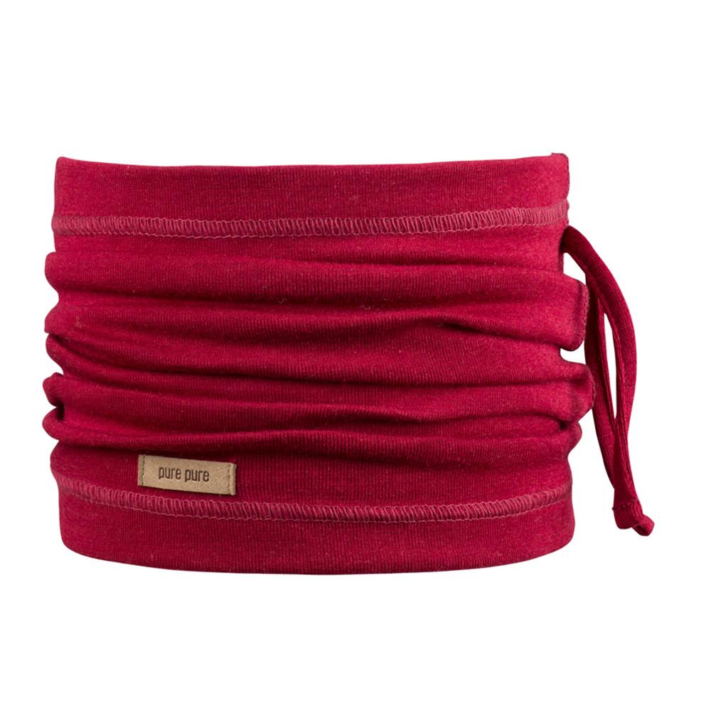 Organic Merino Wool Silk Neck Warmer Color: 181 biking red