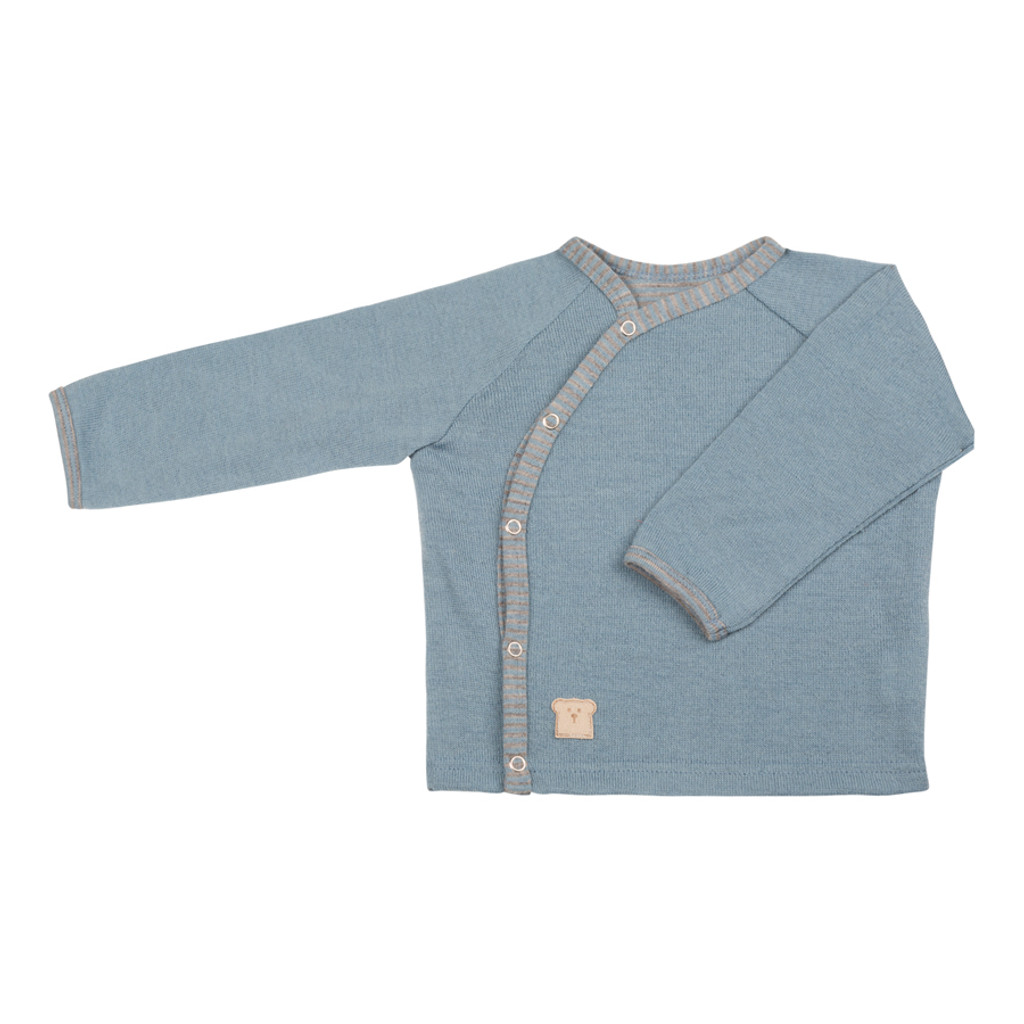 Organic Merino Wool Silk Baby Jacket Color: 353 faded denim