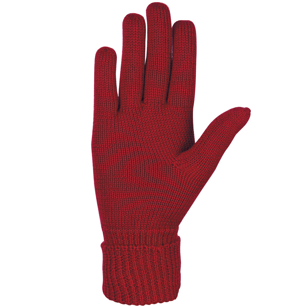 Organic Merino Wool Ladies Gloves Color: 17 cherry red