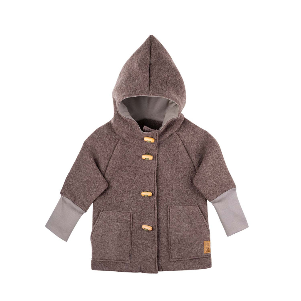 Organic Merino Wool Fleece Kids Jacket Color:  903 Hazel