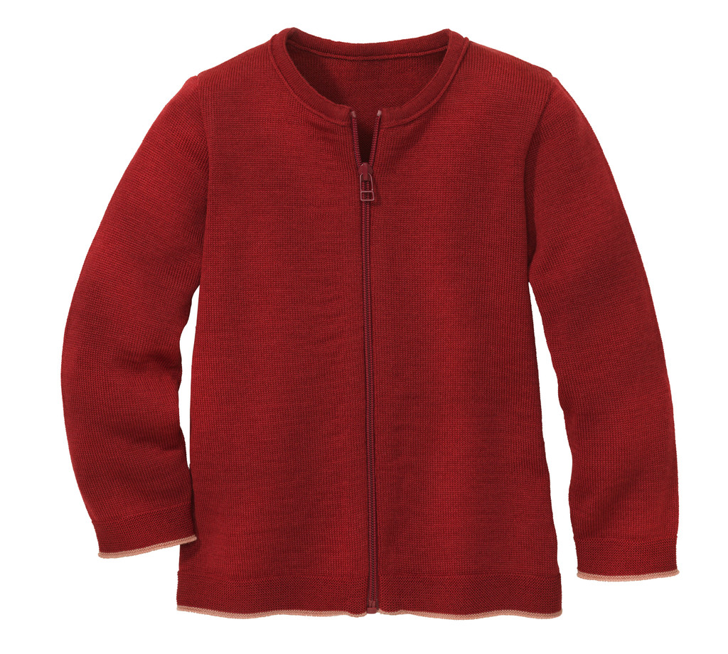 Disana Organic Wool Lightweight Cardigan Jacket Color: 398 Bordeaux