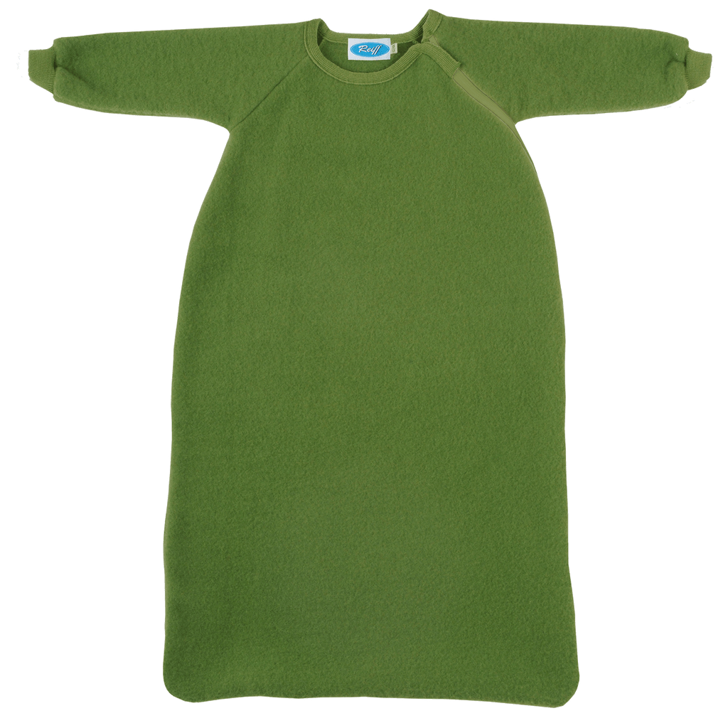 Organic Wool Fleece Long-Sleeved Sleep Sack Color: Apple Green