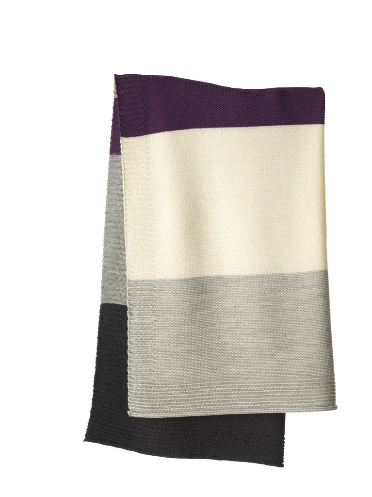 Disana Striped Knitted Blanket Color: 916 Plum Grey