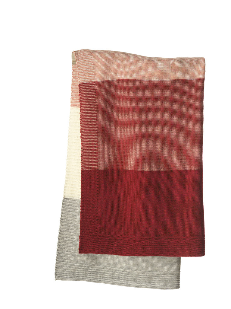 Disana Striped Knitted Blanket Color: 933 Bordeaux Rose