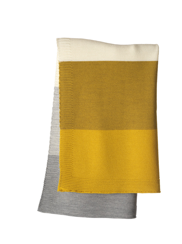 Disana Striped Knitted Blanket Color: 978 Curry Gold