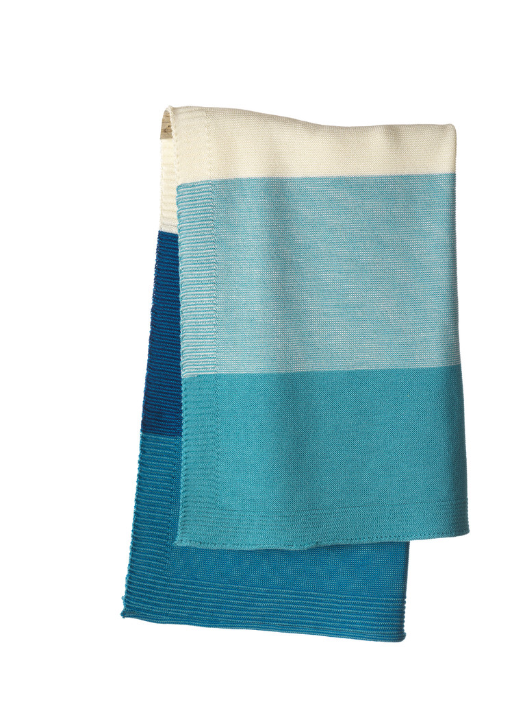 Disana Striped Knitted Blanket Color: 922 Blue Lagoon