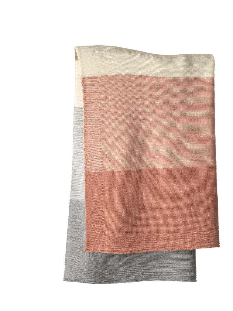Disana Striped Knitted Blanket Color:  931 Rose Natural