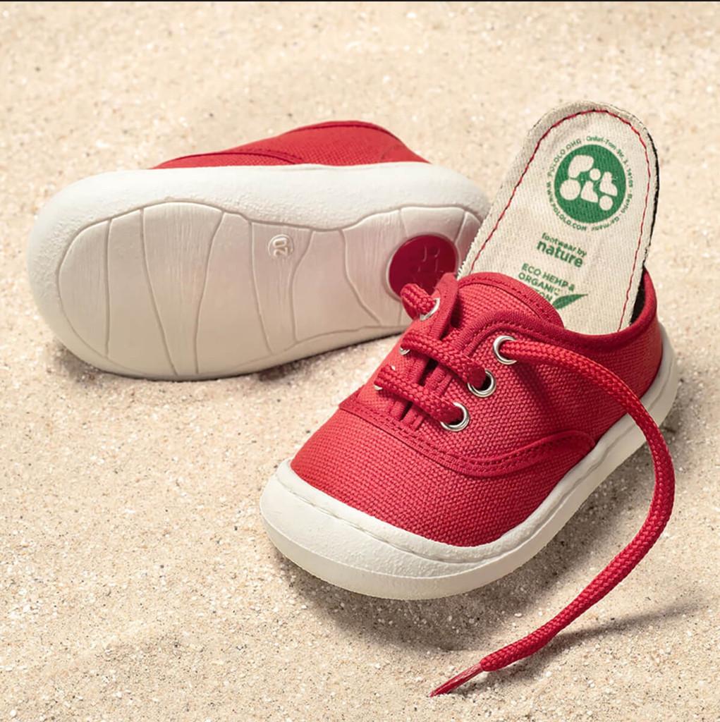 Organic Cotton Vegan Sneaker Color: Red