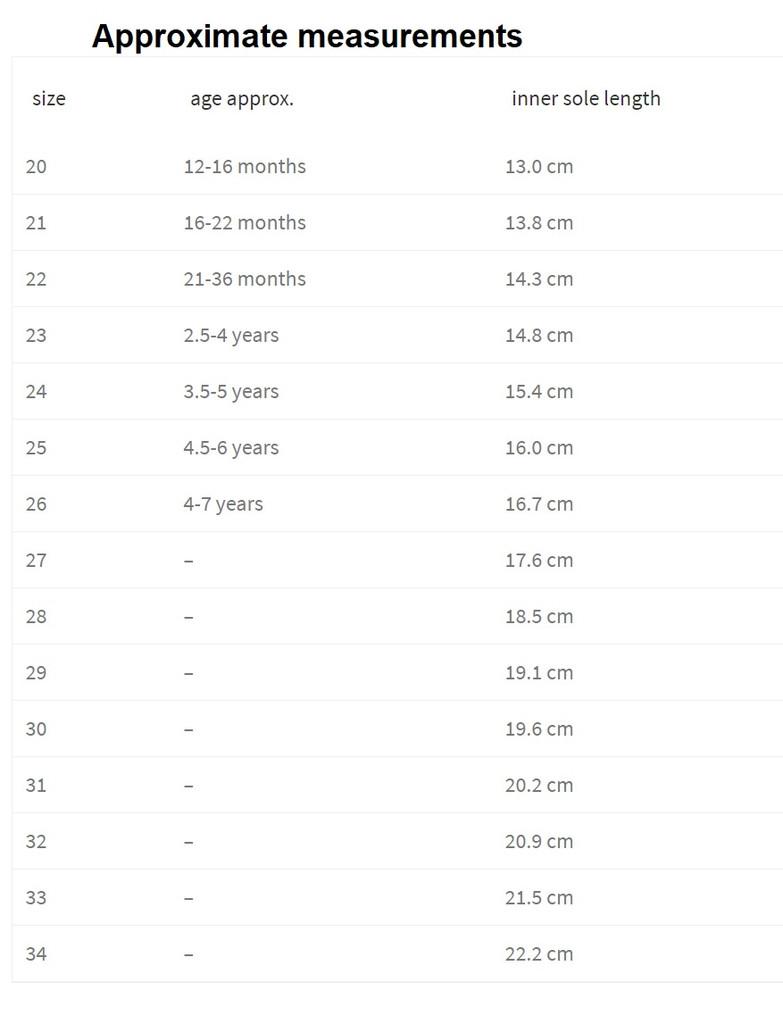 Pololo Size Chart