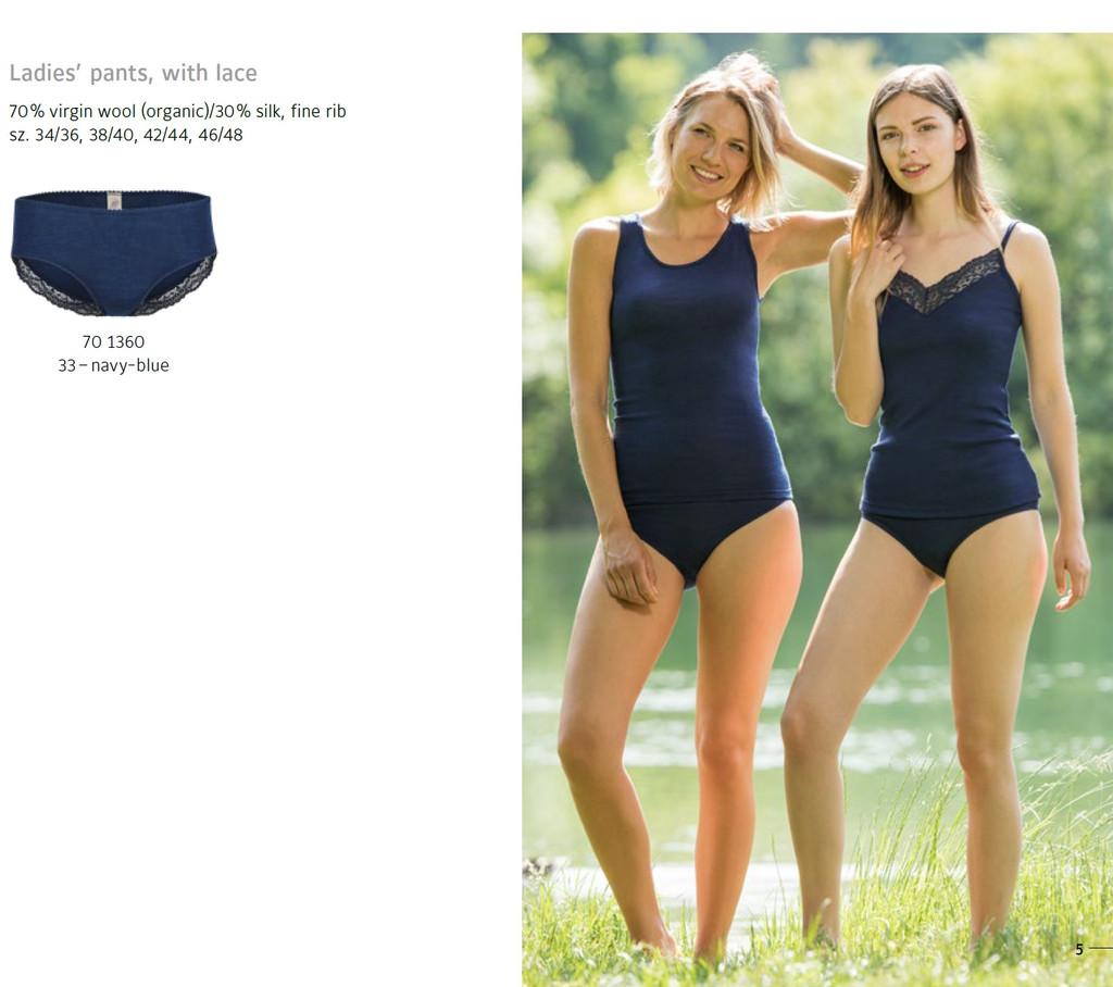 Ladies' underwear with lace, fine rib